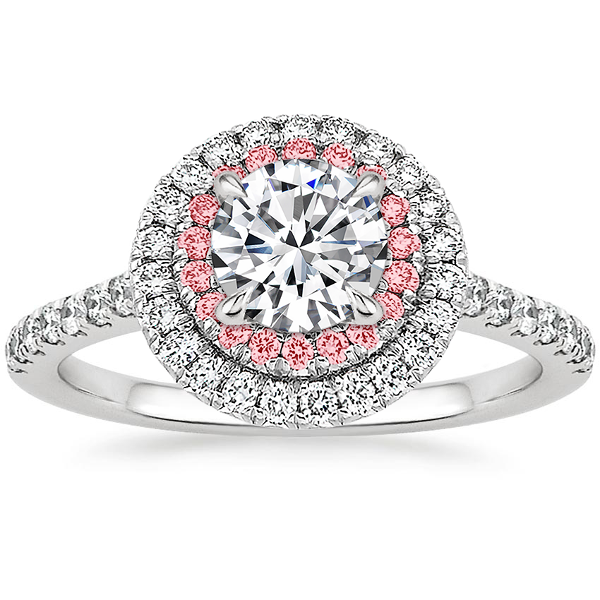Platinum Soleil Diamond Ring With Pink Lab Diamond Accents 1 2 Ct Tw Pink Diamond Engagement Ring Pink Diamond Halo Pink Diamond Ring