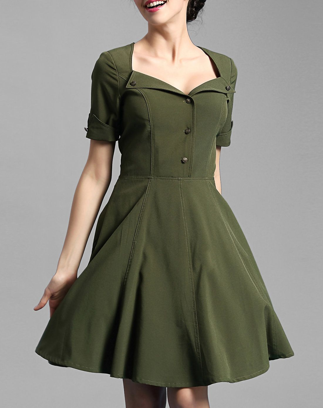 d953562950 V Neck Short Sleeve Buttoned Swing Skater Mini Dress I found this beautiful  item on VIPme.com.Check it out!
