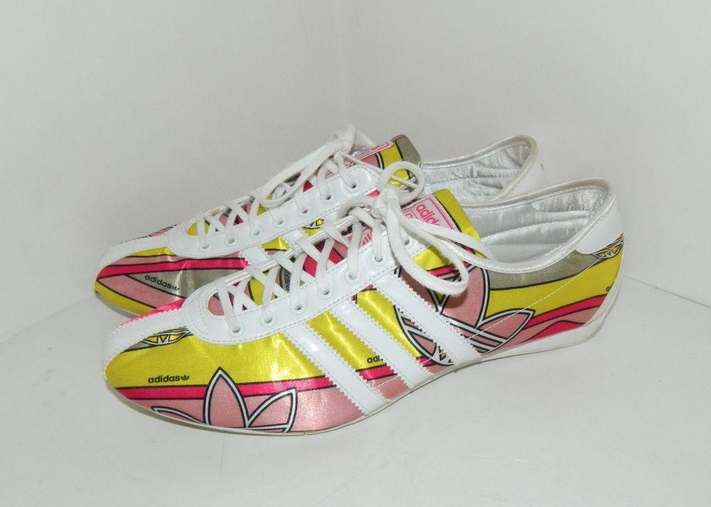 7f47b9f8071 Rare Women s Adidas Okapi Shoes Pink Yellow Gray White Size 9.5  adidas   RunningCrossTraining