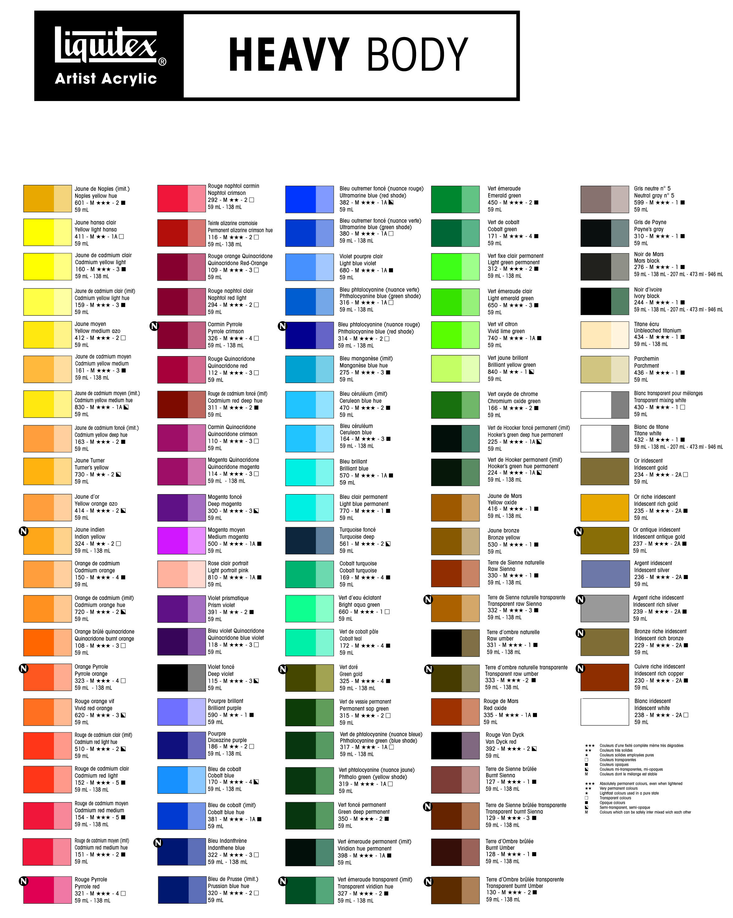 Liquitex Heavy Body Color Chart Color Stuff In 2019 Painting