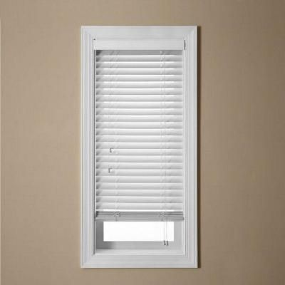 Ez Blinds White Faux Wood Blind 2 In Slats With 2 5 In Regular Valance Price Varies By Size Home Depot White Faux Wood Blinds Decor Blinds Faux Wood Blinds