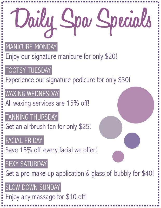 Ideas To Start With But Not Exactly Same One Spa Specials Salon Promotions Beauty Salon Decor