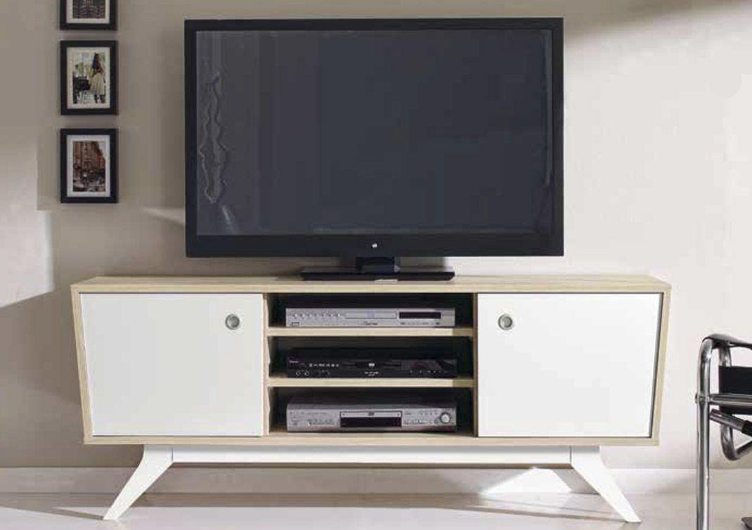 Credenza Con Dos Puertas Corredizas : Fantástica mesa para televisión estilo vintage con dos puertas