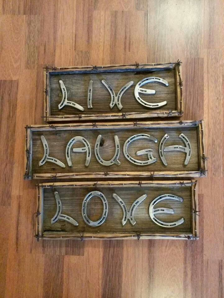 Sign Made Of Horse Shoes Love This Horse Decor Horseshoe