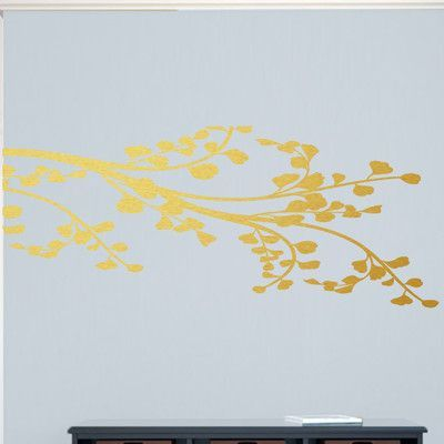 SweetumsWallDecals Corner Leafy Branch Wall Decal Color: Gold