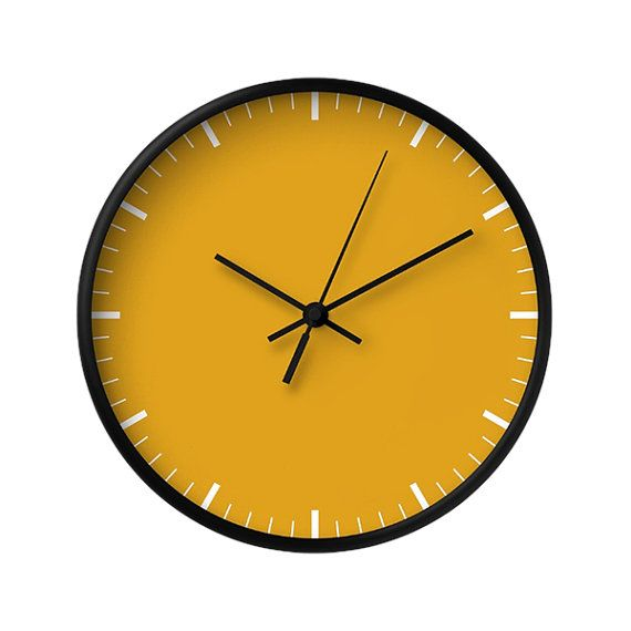 Classic Wall Clock, 5 Color Options, Yellow Wall Clock, Mustard ...
