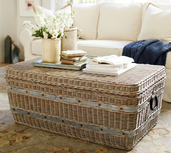 Gray Woven Trunk Pottery Barn Accent Furniture Bedroom Home