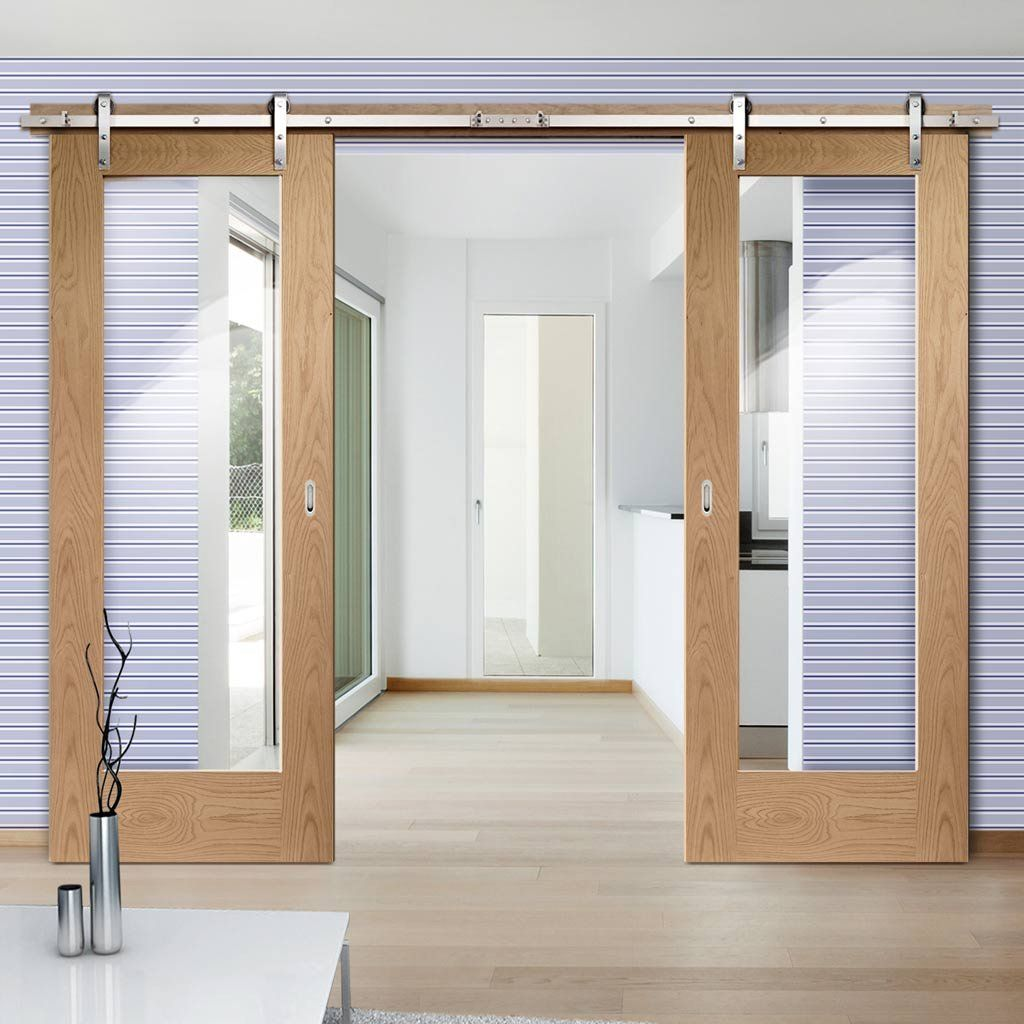 Thruslide Traditional Pattern 10 Oak 1l Sliding Double Door Clear Glass Lifestyle Image Oakdoor Glaz Barn Style Sliding Doors Sliding Doors Double Doors