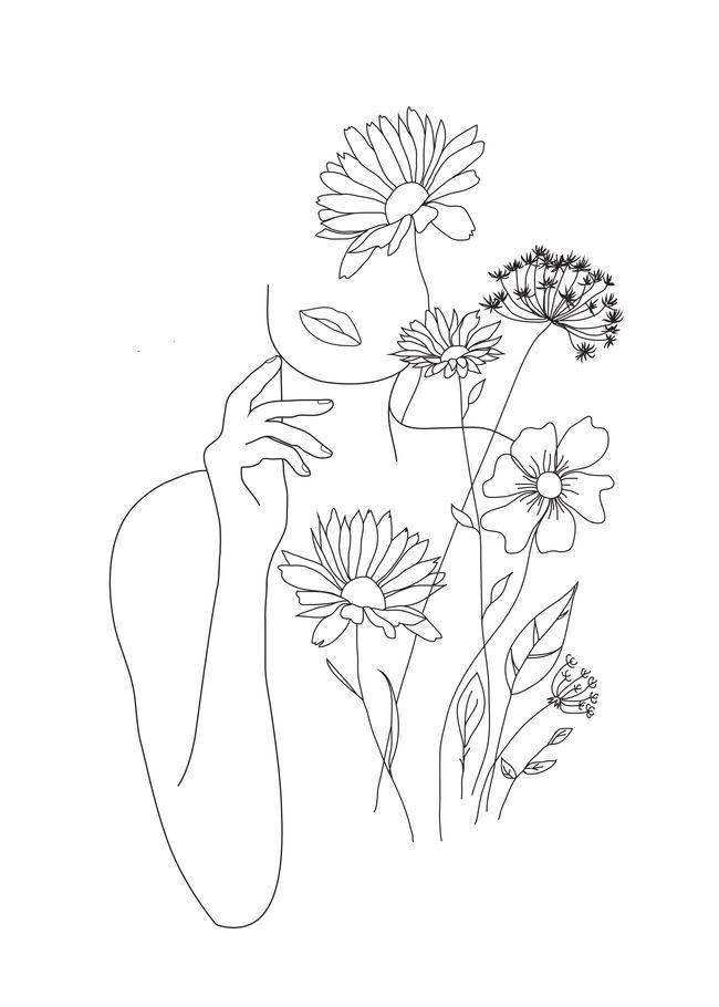 Minimalist Simple Flower Circle Tattoo: Minimal Line Art Woman With Flowers III Acrylic Box By