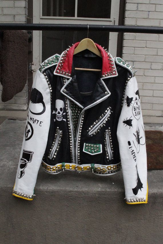 These are hand painted Vintage Leather Punk Rock Jackets