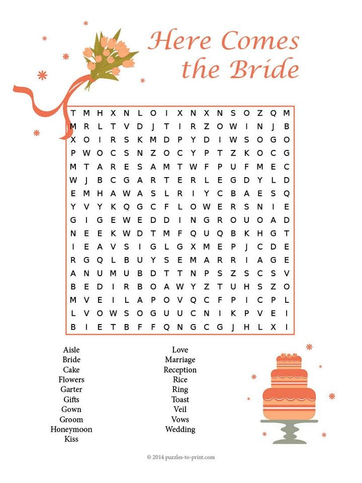 Free Printable Wedding Word Search
