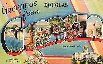 Letter Greetings Beauteous 1940 Large Letter Greetings From Douglas Georgia Ga Collectible .