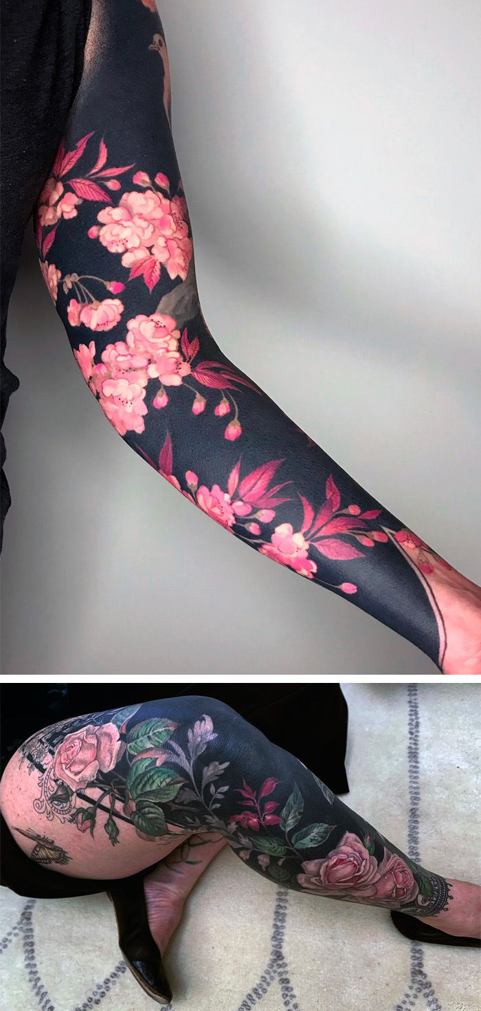 Photo of Delicate Flowers Blossom From Inky Black Backgrounds in Esther Garcia's Stylized Botanical Tattoos