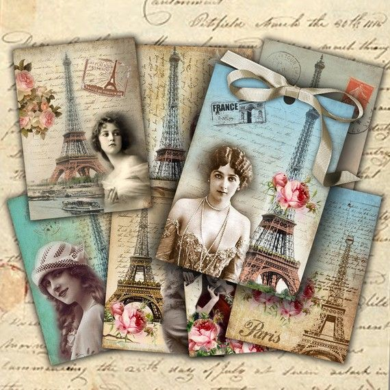 Paris - digital collage - set of 8 - Printable Download from madebyjanet etsy shop