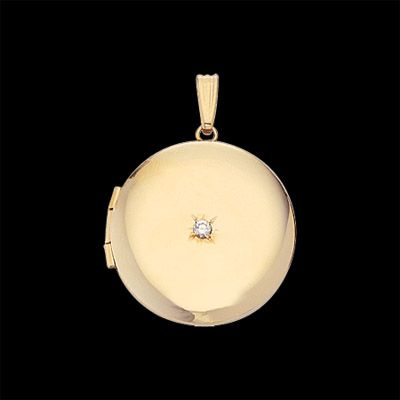com gold necklace locket round polished lockets yellow amazon dp filled