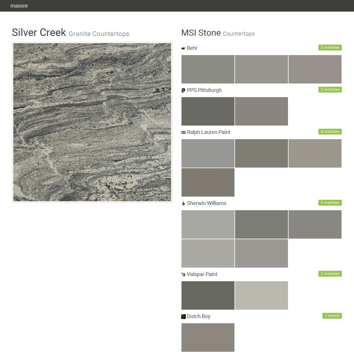Silver Creek. Granite Countertops. Countertops. MSI Stone. Behr. PPG  Pittsburgh.