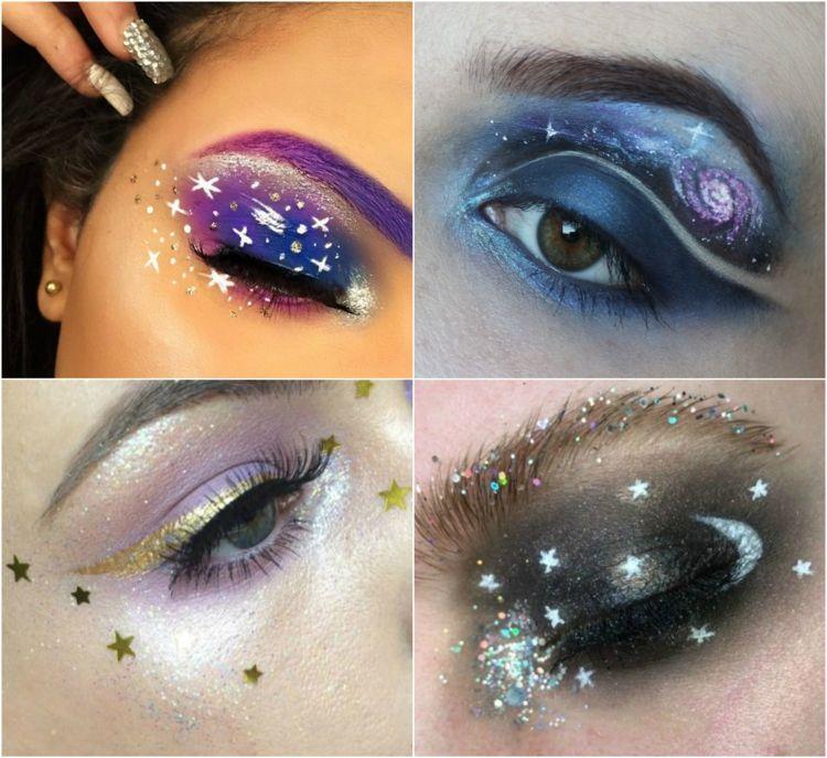 Augen Make Up Galaktisch Planeten Sterne Mond Fasching Party