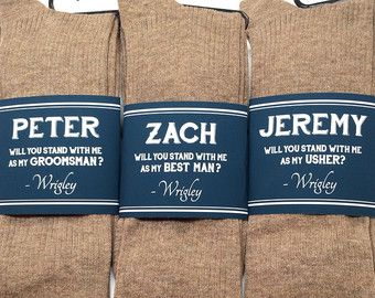 Groomsmen Gift Socks Label Mens Colorful Asking Best Man Be My Groomsman Usher Cotton Men