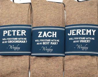 Groomsmen Gift Socks Label Mens Colorful Asking Best Man Be My Groomsman Usher Cotton Men