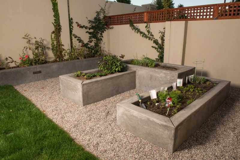 Three Small Square Concrete Planter Boxes Of Make Your Yard