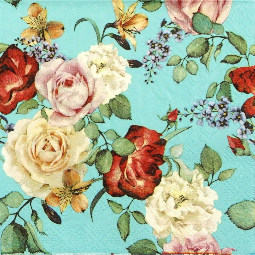 4x Paper Napkins for Decoupage Decopatch Craft Roses on Blue