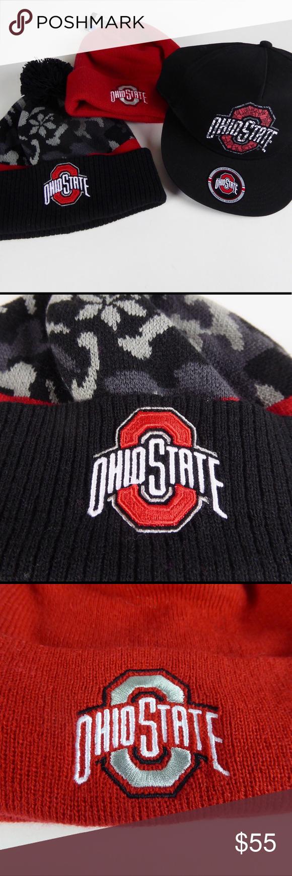 20f68bb52ec56 Ohio State Buckeyes Hat Set PomPom Beanie Cap NWT Ohio State 3-Hat Set 🏈