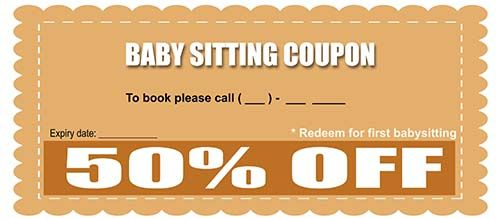 Babysitting Coupon  Babysitting Coupon Templates