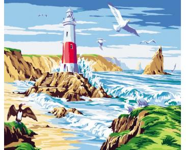 Чайки над морем   Большая картина, Раскраска по цифрам, Маяк