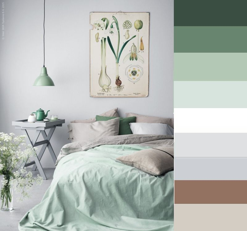 Bedroom color palette natural mint green grey white brown ecru ...
