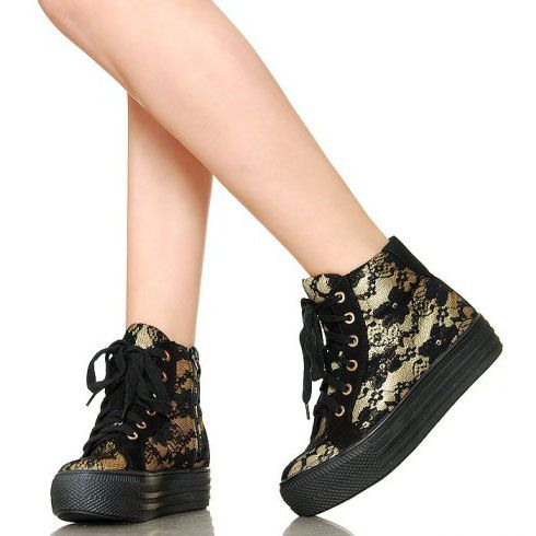 Czarno Zlote Koronkowe Creepersy Wedge Sneaker Shoes Sneakers
