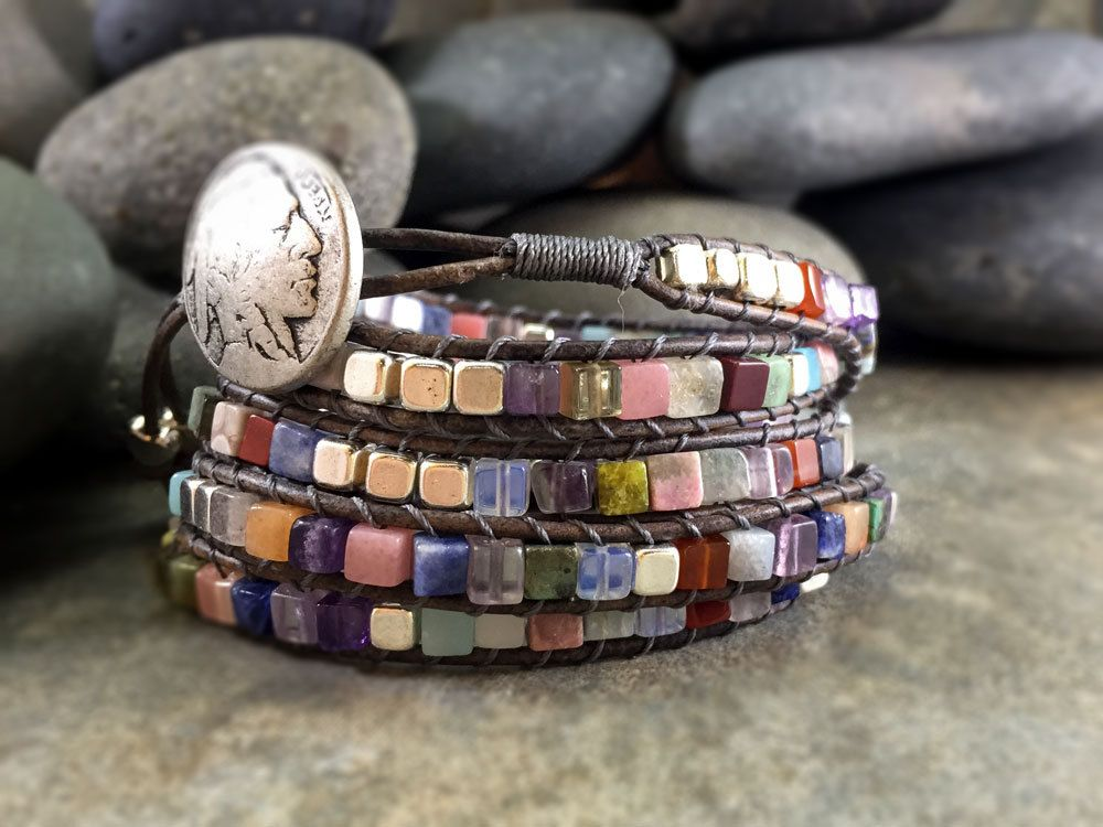 Boho 5-Wrap multi-colored gemstone cube bracelet with silver. Boho wrap with genuine gemstones and silver cubes. by NimbleWitchCreative on Etsy