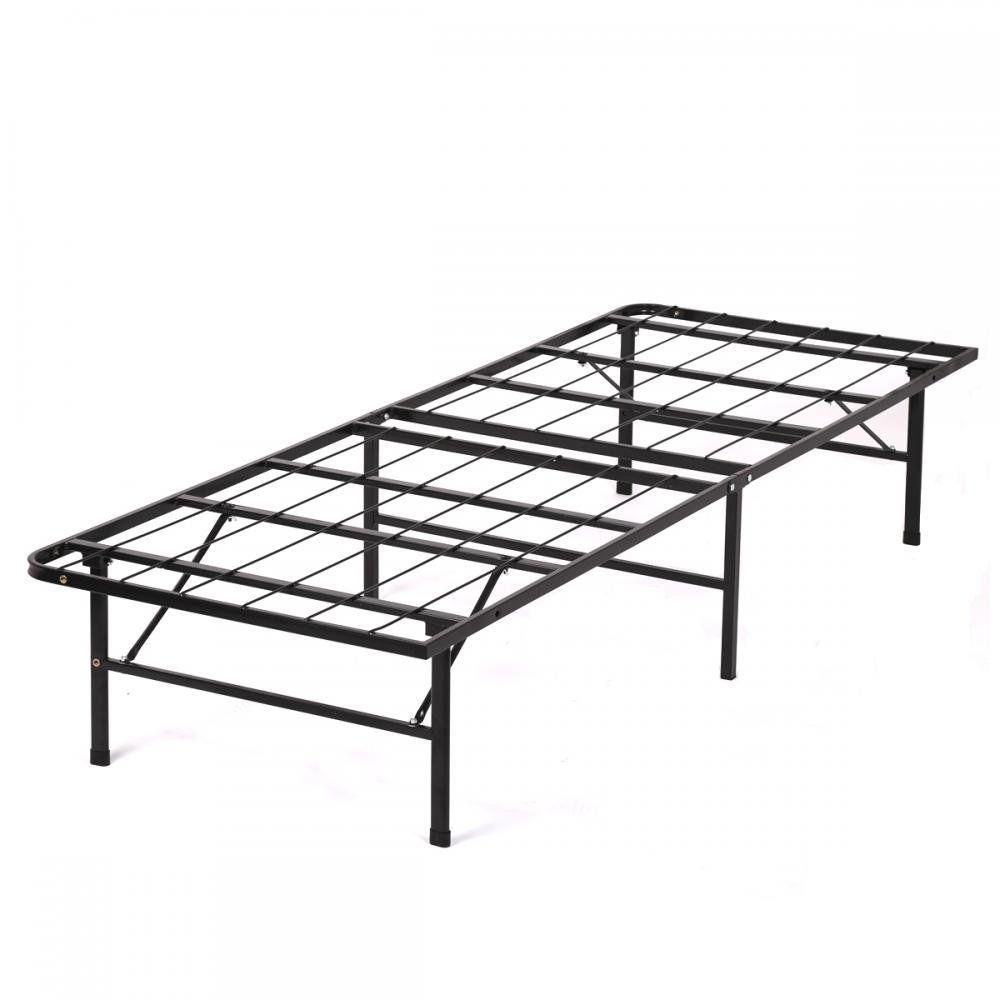New Modern Bi-Fold Twin Folding Platform Metal Bed Frame Mattress ...