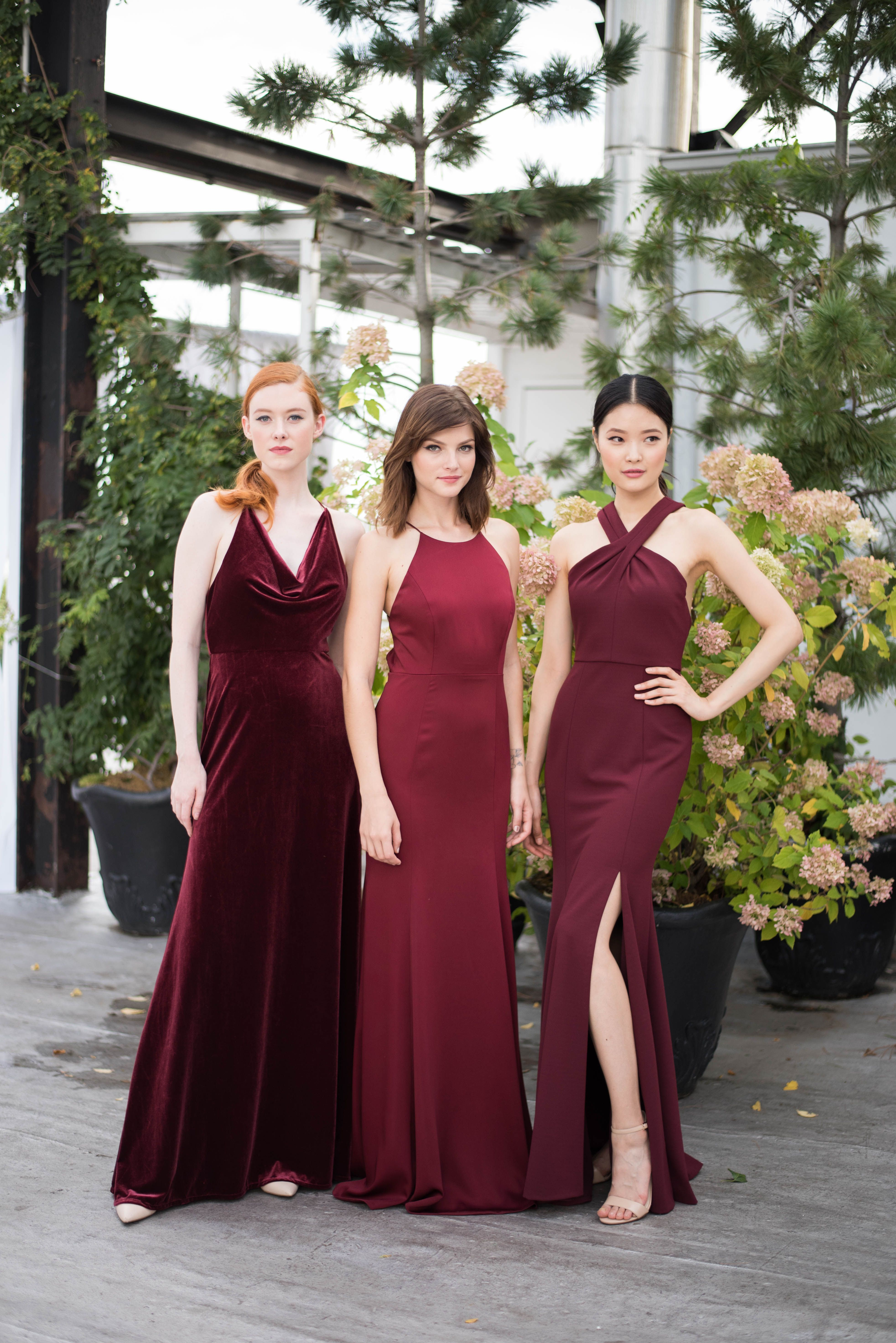 e00a1ca06c30 Jenny Yoo Collection 2018 Bridesmaids, luxurious textures and styles in the  gorgeous shade of burgundy