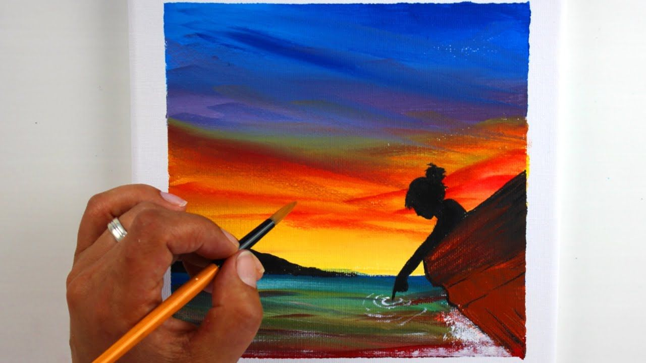 In touch with the Lake   Acrylic Painting   Sunset ...