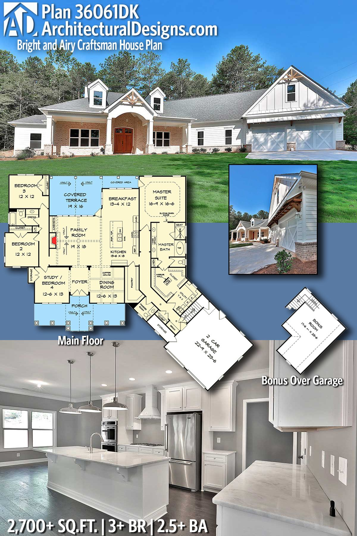 Architectural designs craftsman house plan dk has beds baths square feet of heated living space ready when you are also bright and airy in my kind rh pinterest