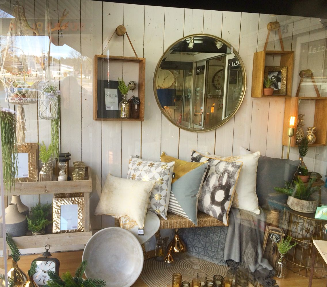 Home Decorator Stores: Gold, Grey And Natural Window Display At Our Shop Lavish