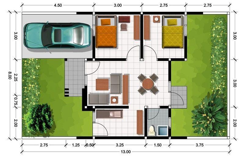 Denah Rumah Modern Minimalis 1 Lantai Type 45 Rumah Minimalis