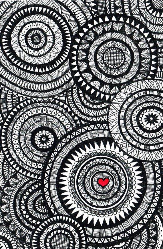 Black And White Zentangle Circle Collage Patterns Doodle Art
