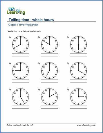 Grade 1 Telling time Worksheet on whole hours Worksheets - clock templates