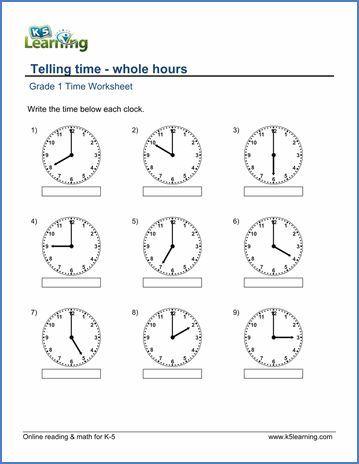 Grade 1 Telling time Worksheet on whole hours | Worksheets | Pinterest