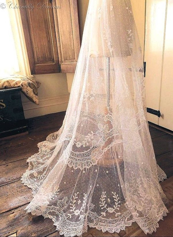 Stunning Rare Antique Victorian Tambour Lace Bridal Skirt Circa Late 1800s