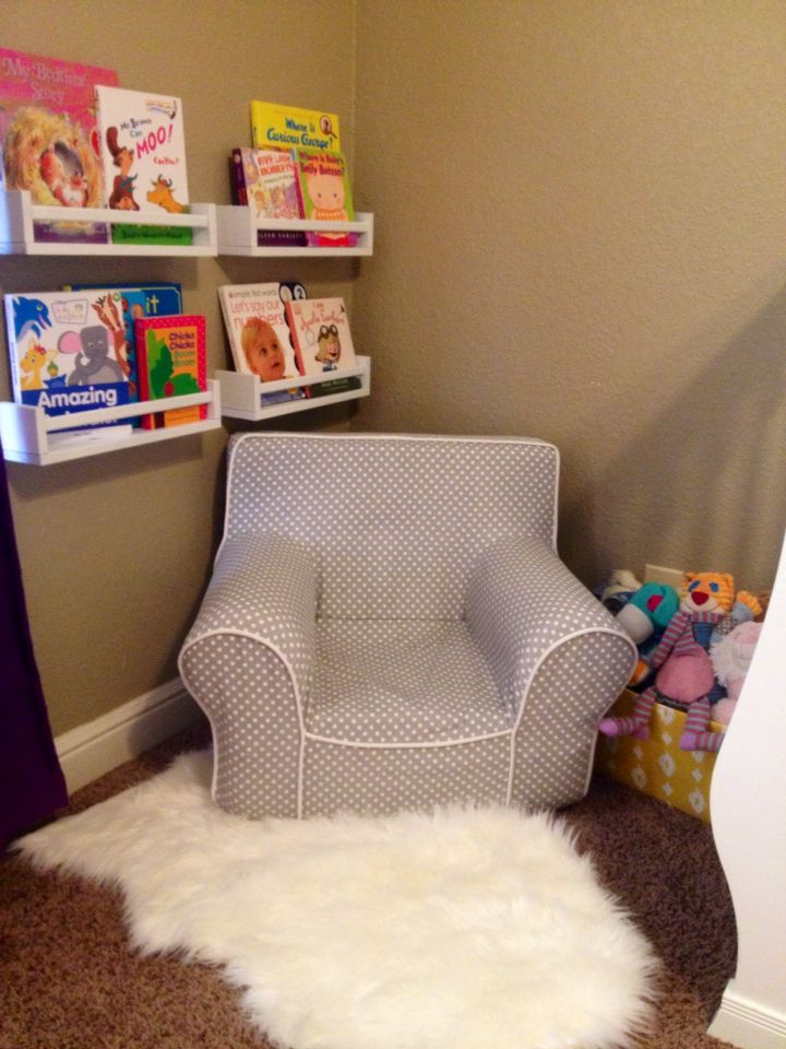 Kids Reading Nook, Cozy. IKEA Shelves, Pottery Barn Chair, Home Goods Rug