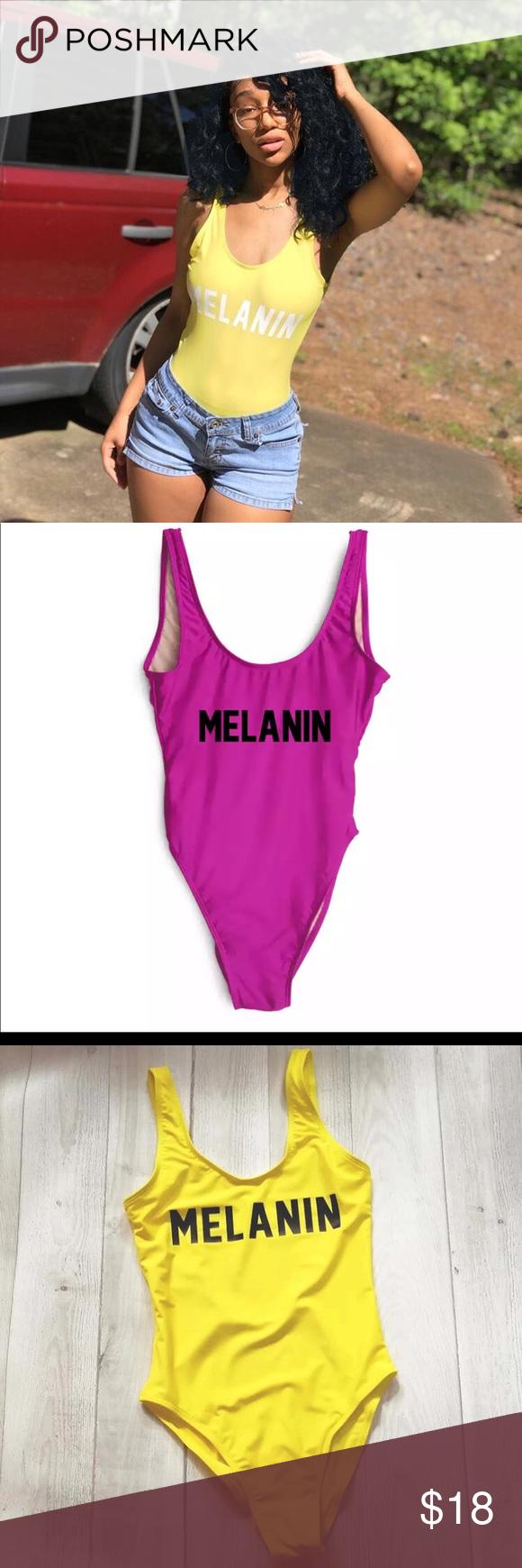 870fd6818ff9f Melanin poppin One Piece Swimsuit MELANIN Letter Printing Swimwear Women  High Cut Low Back Bathing Suit Pink Monokini Bodysuit Beachwear Girls Swim  One ...