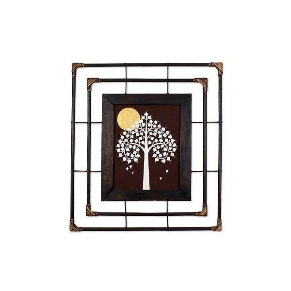 NOVICA Buddhist Art Painting Bodhi Tree Golden Moon with Frame (€120 ...