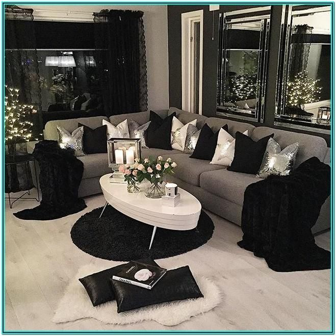 Living Room Decor Ideas Black And Silver In 2020 White Living Room Decor Black And White Living Room Decor Black And White Living Room