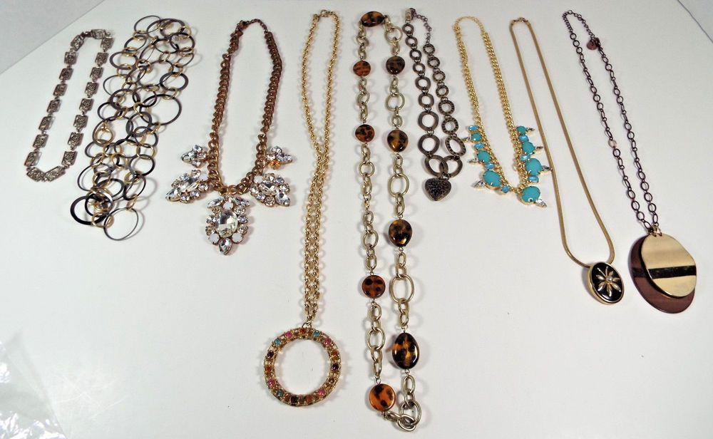 "9 Piece Estate Lot Vintage Modern Necklaces Gold Tone Metals Coventry 7"" - 21"" #SaraCoventry #ChokerPendantChain"