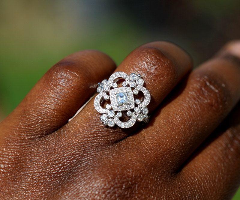 DUCHESS   Platinum Art Deco Setting   Diamond Engagement Ring Or Right Hand  Ring SEMI MOUNT  Weddings  Luxury  Brides   BP0011
