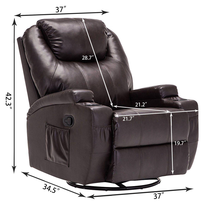 Windaze Massage Recliner Chair 360 Degree Swivel Heated Recliner