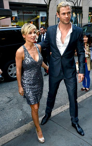 Chris Hemsworth escorted wife Elsa Pataky to the April 8 Oceana Ball hosted by Christies auction house in NYC.