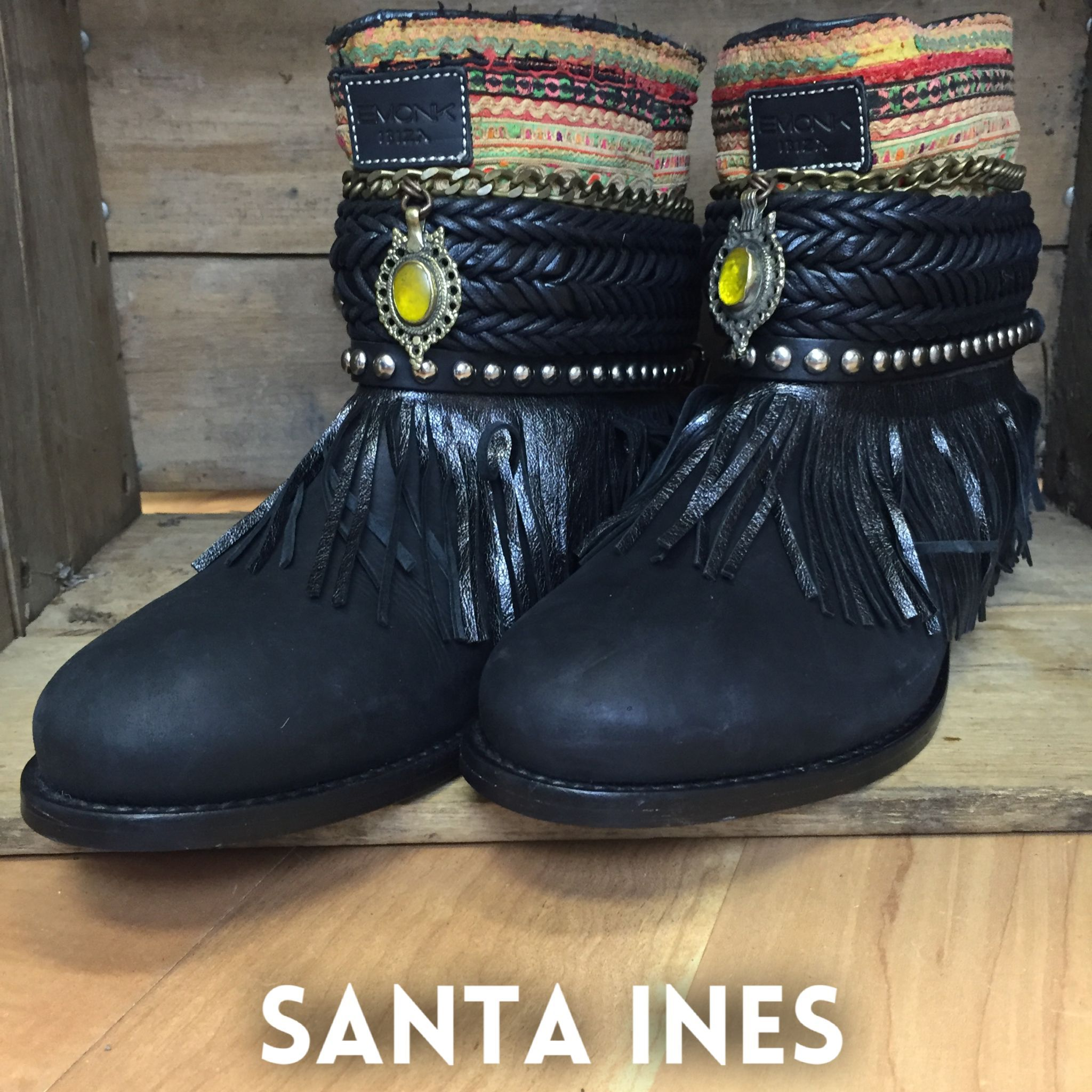 The epitome of bohemian. These handmade leather boots are one of a kind. Created in Ibiza with materials collected from all around the world. No two pair are alike.